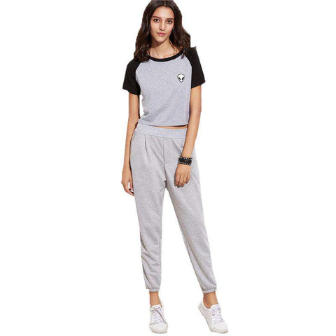 Grey Elastic Cuff Pocket Mid Waist Cropped Sweatpant