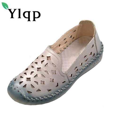 Genuine Leather Breathable Soft Bottom Hollow Out Flat Shoes - Wear.Style