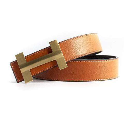 Solid Brass Luxury H Buckle High Quality Genuine Real Leather Belts - Wear.Style
