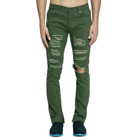 Army Green Ripped Slim Skinny Side Ankle Zipper Distressed Jeans