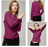 Flare Long Sleeve O-neck Cotton Tees Tops