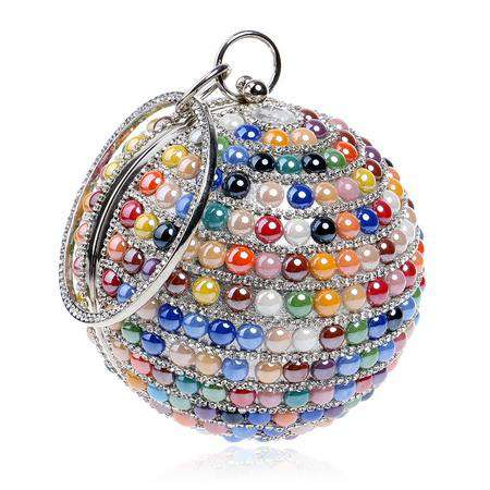 Ceramics Mixed Colour Metal Diamonds Beaded Round Design Bags