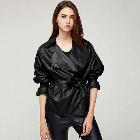 Loose Washed PU Leather Fashion Slash Design Jackets