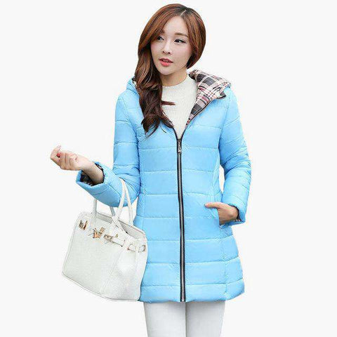 Long Hooded Parka Plaid Fabric Interlining Slim Cotton-Padded Jacket - WS-Jackets