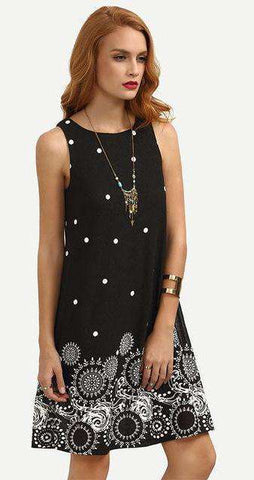 Polka Dot Tribal Print Black Short Dress - Wear.Style
