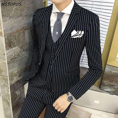 Single Breasted Striped Party Wear 3 Piece Suit