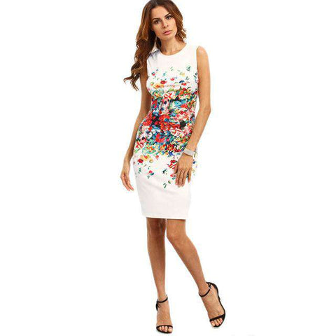 Abstract Flower Print Sleeveless Round Neck Knee Length Elegant Pencil Dress