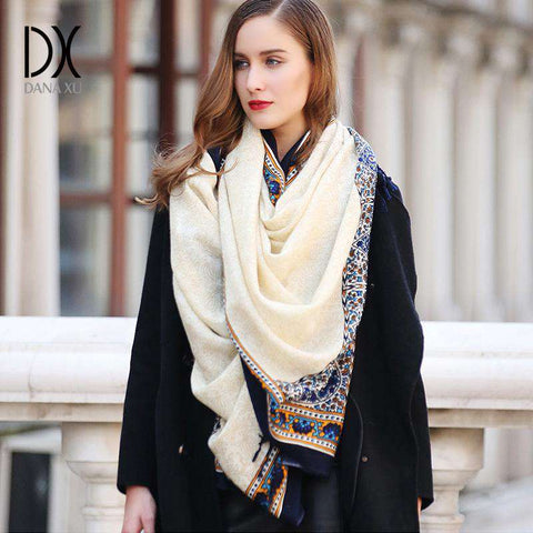 Printed Long 100% Pure Wool Scarf - Wear.Style