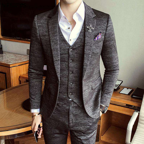 Luxury Slim Fit Single Breasted British 3 Piece Suit
