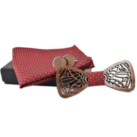 Wooden Bow Tie set with Handkerchief and Cufflinks
