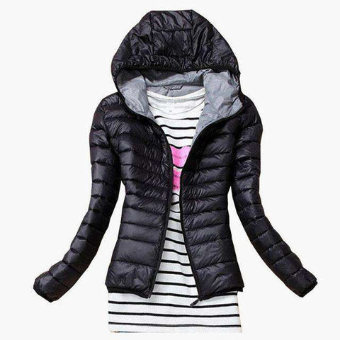Cotton Hooded Long Sleeve Slim Solid Parkas Jacket
