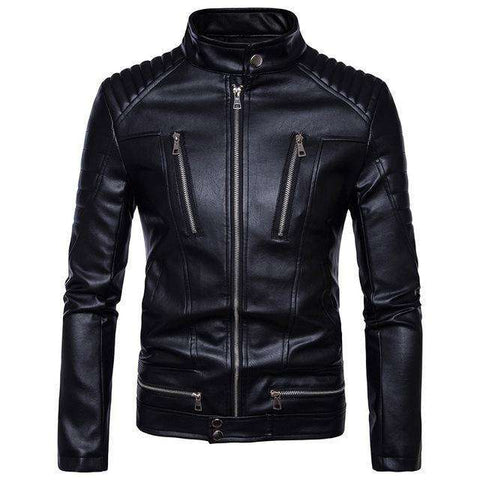 Zipper Multi-pocket Stand Collar Leather Jacket