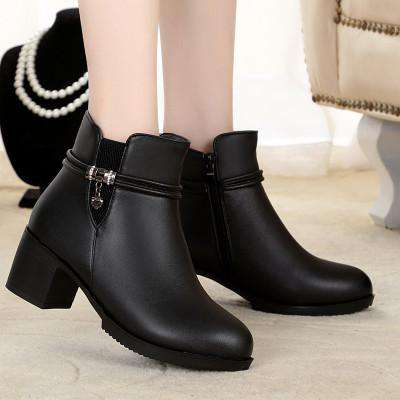 Genuine Leather Round Toe Ankle Thick High Heels Boots - Wear.Style