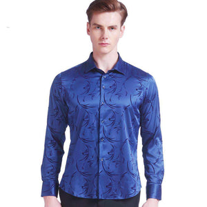 Printed Tuxedo Party Long Sleeve Shirt Silk - Wear.Style