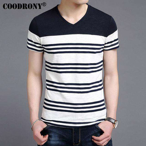 Casual Striped V-Neck Short Sleeve T Shirt