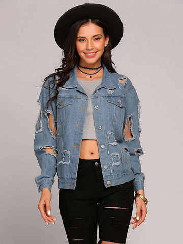 Denim Bomber Long Sleeve Ripped Button Jacket - WS-Jackets