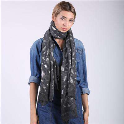 Shiny Bronzing Silver Feather scarf - Wear.Style