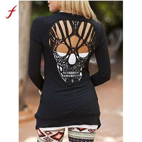 Skull Thin Cardigan Sexy Backless Long Sleeve - Wear.Style
