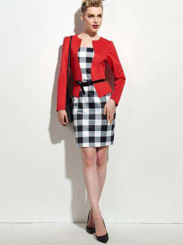 Long Sleeve Plaid Double-Layered Pencil Dress