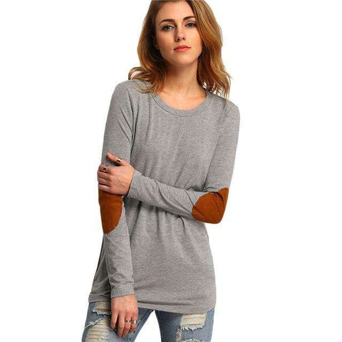 Elbow Patch Round Neck Long Sleeve T Shirt