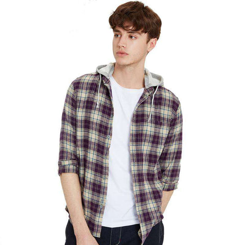 Long-sleeve Hooded (Removable) Plaid Pattern Shirt