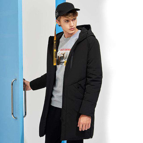 Hooded Black Long Duck Down Coat - Wear.Style
