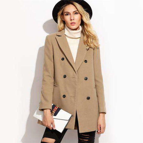 Camel Double Breasted Elegant Brief Lapel Long Sleeve Coat - Wear.Style