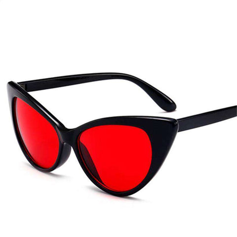 Red Cat Eye Design Vintage Transparent Frame Sunglasses