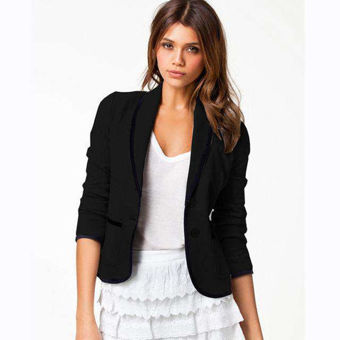Thin Full Sleeve Double Buttons Notched Jacket