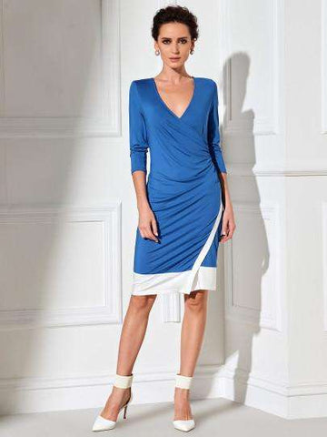 Colour Block Asymmetrical Sheath Dress