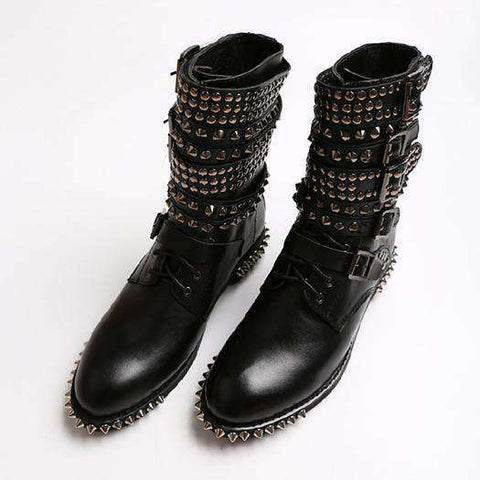 Women Punk Ankle Round Toe Lace Up Spike
