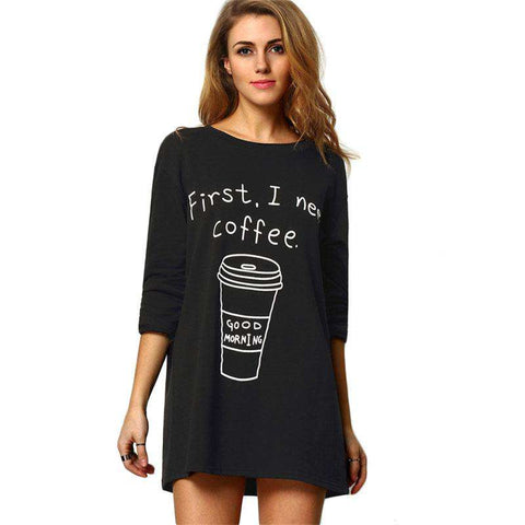 Black Round Neck Long Sleeve Coffee Print Long Style Loose Tees