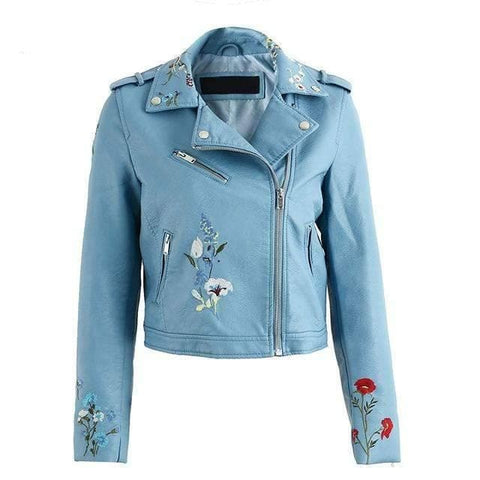 Embroidery faux leather jacket - WS-Jackets