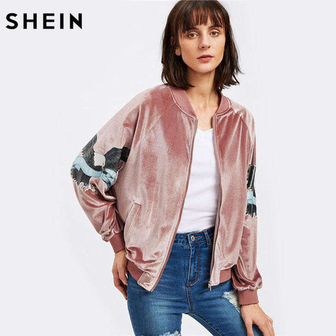 Patch Sleeve Zip Up Velvet Jacket Pink - WS-Jackets