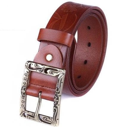 Genuine Leather Metal Pin Buckle Carved Vintage Belt
