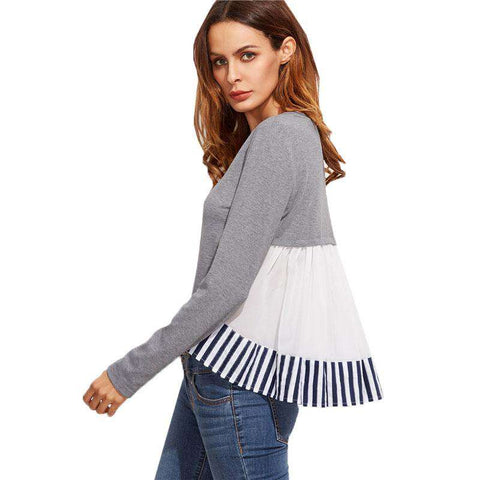 Striped Ruffle Back High Low Grey Long Sleeve Round Neck Top