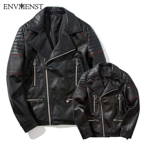 Turn-down Collar PU Jackets Jacket