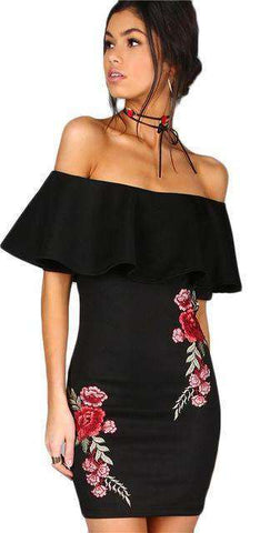 Black Sexy Off Shoulder Embroidery Mini Dress - Wear.Style