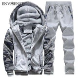 Two Pieces Sets Fur In Sleeve Thick Hooded Camouflage Jacket+Pants