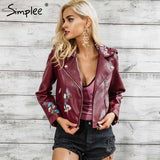 Embroidery Zipper faux Leather Jacket - WS-Jackets