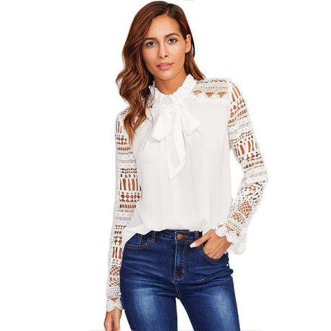 Geo Lace Sleeve White Frilled Tie Neck Long Sleeve Top