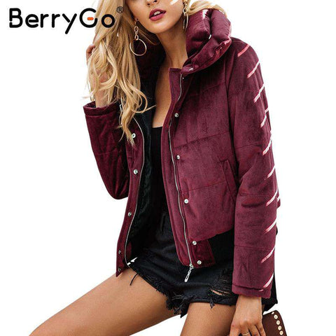 Velvet Cotton Padded Wine Red Jacket