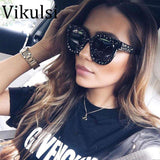 Luxury Crystal Square Mirror Retro Full Star Sun Glasses - Wear.Style