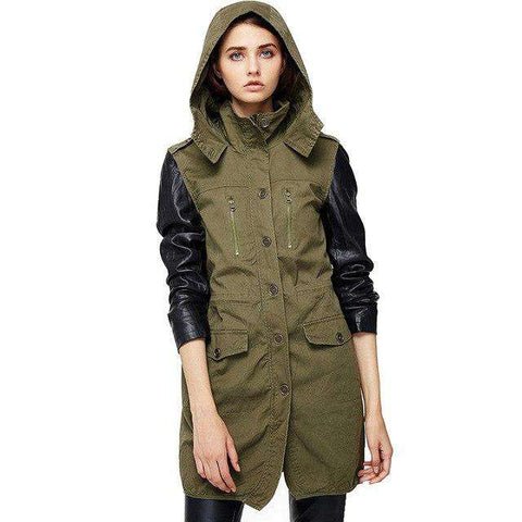 Pu Leather Hooded Long Sleeves Collar Jacket