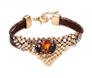 Cool Leather Nostalgia Style Triangle Gold-colour Spot Bracelet