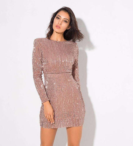 Open Back Pad Shoulder Elastic Sequins Dress