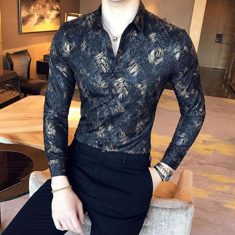 Metallic Gold Printed Slim Fit Single Breasted Turn Down Collar Shirt