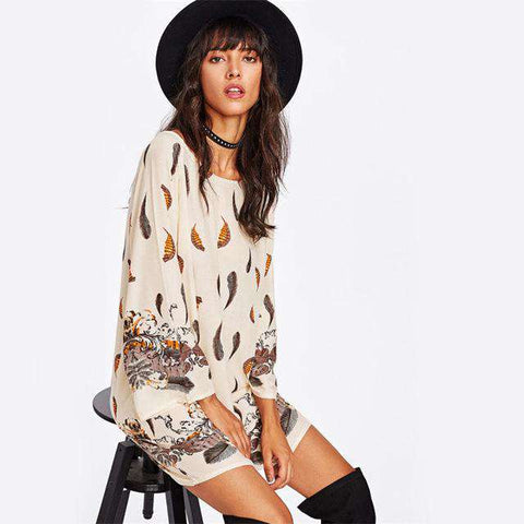 Feather Print Raglan Sleeve Apricot Round Neck Long Sleeve Short Dress