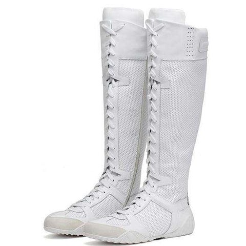 Lace Up Knee High White Long Women Boots - Wear.Style