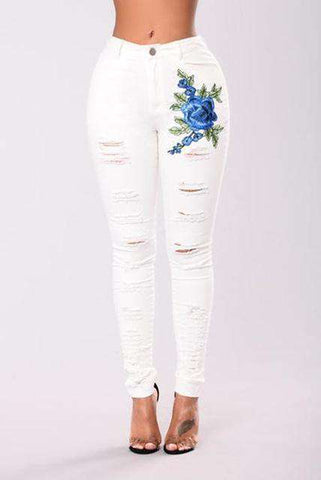 High quality Embroidery high waist white Jeans - Wear.Style
